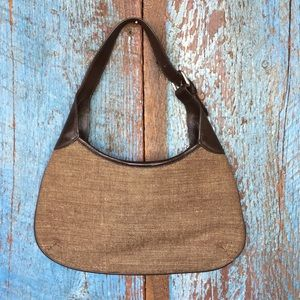 Banana Republic Brown Linen Small Shoulder Bag